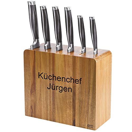 Sterngraf Jamie Oliver Messerblock MIT Gravur (z.B. Namen) mit 6 Messern, Akazienholz, formschön, schmales und dezentes Design, einfache Entnahme der Küchenmesser