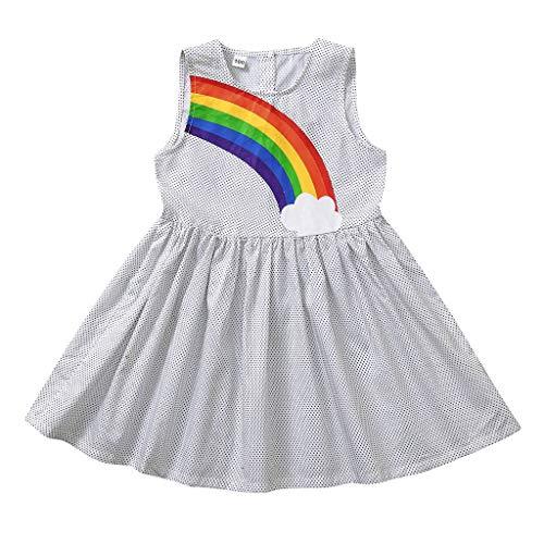 YWLINK Vestido De NiñA para Fiesta Sin Mangas Punto Vestido Arcoiris Falda De Verano Moda Casual Lindo Falda Princesa CóModo Dia De Miembro Ropa De NiñOs Regalo(Blanco,3-4 años/120)
