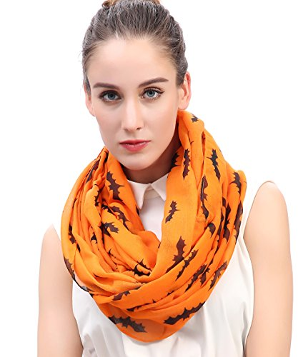Lina & Lily Fledermaus Print Loop Halloween Schal (Orange)