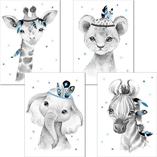 LALELU-Prints   A3 Poster Kinderzimmer Deko Junge   Zauberhafte Indianer-Tiere Boho Feder blau   Bilder Babyzimmer   4er Set Kinderzimmerbilder (DIN A3 ohne Rahmen)