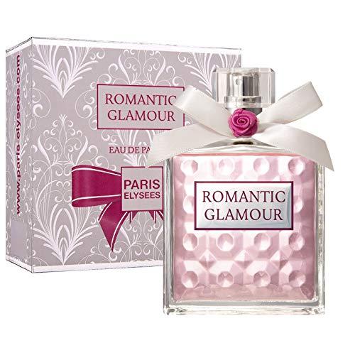 Romantic Glamour - Agua de perfume para mujer, 100 ml, diseño de París Elysees + regalo y fresco de uso