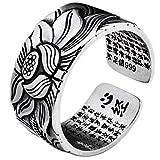 Gazaar Real S999 plata esterlina flor de loto anillos abiertos para mujeres hombres regalos vintage floral dedo anillo plata moda fiesta joyería regalos