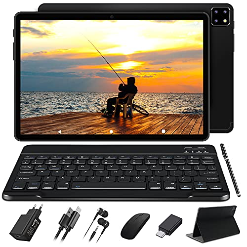 10 Inch Tablet FACETEL Android 10 Octa-Core Processor 1.6GHz, Tablet PC 4GB RAM + 64GB ROM, Dual Cameras (5MP + 8MP) |Dual Bands 5G+2.4G WIFI | 8000mAh | Bluetooth | Keyboard | Mouse -Black