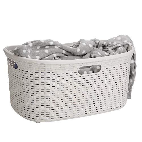 Mind Reader 40LBASKIVO Laundry Hamper with Cutout Handles Washing Bin Dirty Clothes Storage Bathroom Bedroom Closet 40 L Ivory 40 Liter Basket