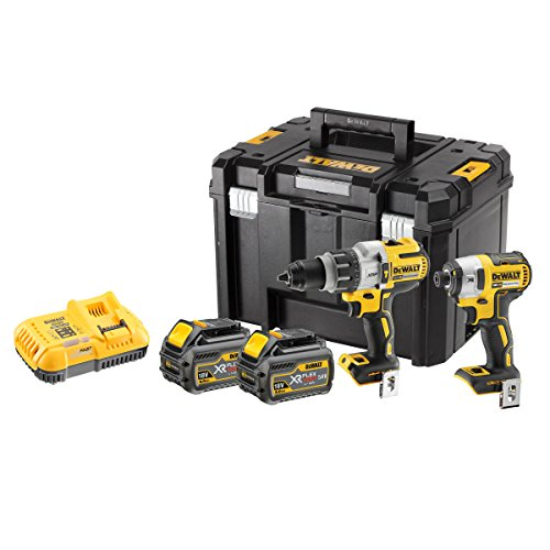 Dewalt DCK276T2T-GB Combi Drill and Impact Driver XR 18V Brushless Kit (2 x FLEXVOLT 6.0Ah Batteries) in T-STAK Box, 18 V, Yellow/Black