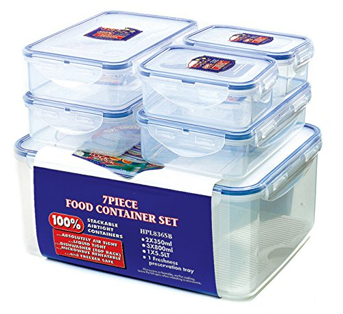 Lock and Lock 6 piece store set 3 x 800ml 2 x 350ml and 1 x 5.5 litre containers including freshness preservation tray 100% liquid air and moisture tight microwave and dishwasher safe Container capacities Lock & Lock set