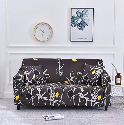 Funda de sofá Funda de sofá elástica con Estampado de Hojas Funda de sofá Todo Incluido sofá Funda de sofá en Forma de L con Diferentes Patrones A21 1 Plaza