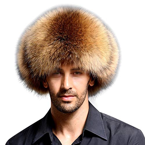 Frcolor Sombrero de Cuero Artificial Faux Fur Northeast Winter Warm Hat para Gorra de Mediana Edad (Tango Claro)