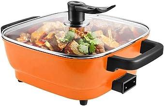 DYXYH Hot Pot électrique, carré orange style mini portable multi fonction des ménages non-Stick Hot Pot Friture Fried Marmite
