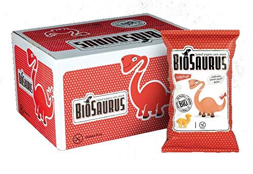Biosaurus Baked Organic Corn Snack für Kinder| - 16x30g (Ketchup) - Gebackener knusprige Bio-Snack aus Mais, Nicht Frittiert | Low Fat, Glutenfrei, BIO, keine Chemie, VEGAN | - 16x30g (Ketchup)