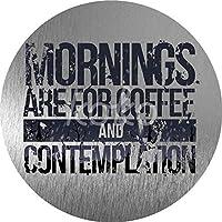 朝はコーヒーと熟考のためですブリキのサイン ぶら下がっている木製のプラークハウスウェルカムサイン個々の円形レトロアートペインティングとひもプラークレコードペインティング