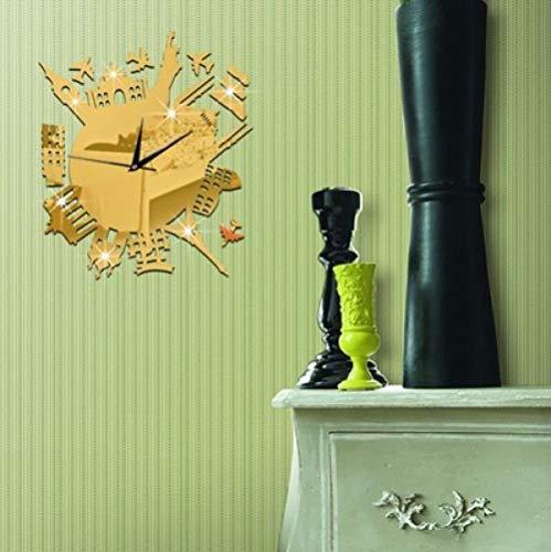 FPRW Stad Silhouette Muursticker Klok, 3D Milieubescherming Acryl Spiegel Klok, Stereo Mute Decoratieve Wandklok, Goud