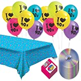 90's Party Supplies - Party Pack of Floppy Disk Napkins, CD Paper Plates, 90's Tablecover, and 90's Balloons (Serves 16)