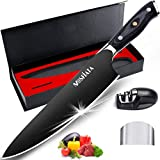 "MOSFiATA 8"" Super Sharp Titanium Plated Chef's Knife with Finger Guard and Knife Sharpener in Gift Box, German High Carbon Stainless Steel EN1.4116 Titanium Coated Stylish Kitchen Cooking Knife"