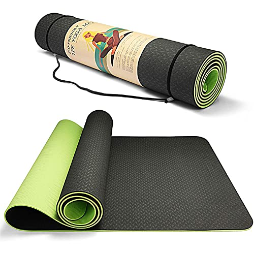 LLZH Mat de Yoga Antideslizante, Estera de Ejercicios de Fitness ecológica con Correa de Transporte, Estera de Entrenamiento Antideslizante para Yoga, Pilates, Ejercicios, Anti-lágrimas, Sudor