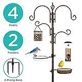 Best Choice Products 91in 4-Hook Bird Feeding Station, Steel Multi-Feeder Stand w/ 2 Feeders, Tray, Bird Bath - Bronze