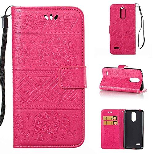 pinlu Schutzhülle Für LG K10 2017 (Euro Version) Handyhülle Hohe Qualität PU Ledertasche Brieftasche Mit Stand Function Elefanten Muster Rose Rot
