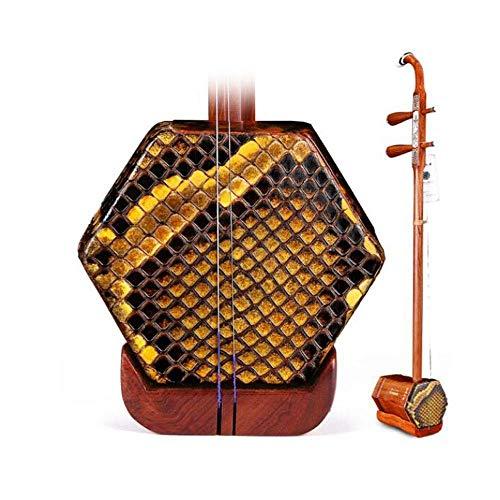 Erhu Musikinstrument, Red Palisander Erhu, Kinder Erwachsene Anfänger Handgefertigte Professionelle Universal-Instrument, Red Palisander Knochen schnitzte Holzschaft (Farbe: Natur) HUERDAIIT