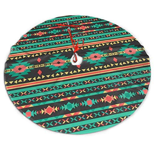 ASO-SLING Cozy Merry Christmas Tree Skirt Cool Tribal Ethnic Geometric Pattern Printed Xmas Tree Mat Xmas Holiday Party Ornaments Xmas Holiday Party Decoration 30/36/48 Inch Diameter
