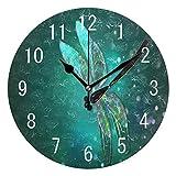 Decoración del hogar Hermosa libélula Redonda de acrílico Reloj de Pared de 10 Pulgadas sin tictac Reloj silencioso Arte para Sala de Estar Cocina Dormitorio