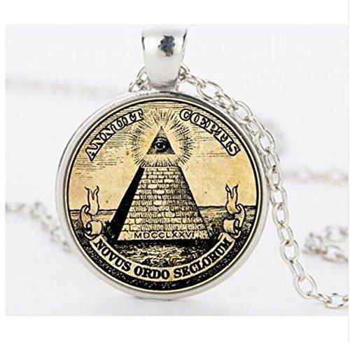 Vintage Symbol Freimaurer Illuminati Antiker Druck Illustration Poster Glas Anhänger Halskette Fashion Jewelry