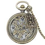 XULIM Reloj de bolsillo para hombre, creativo reloj de bolsillo con mariposa hueca, accesorios para jaulas de pájaros, reloj de bolsillo para estudiantes, amigos y amigas, ancianos