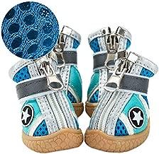 BATTILO HOME Summer Breathable Mesh Dog Shoes Pet Boots Anti Slip Paw Protectors(S,Blue)
