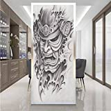 Becanbe Glass Film Window Stickers W 23.6' x L 78.7' Toilet Privacy Glass Film,Sticker Removable,Kabuki Mask,Warrior Samurai Drawing Style with Angry Expression Historical Figure Artwork,Black White