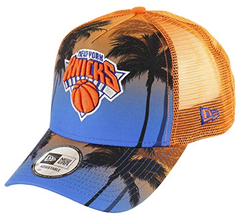 New Era New York Knicks A Frame Adjustable Trucker Cap NBA Palm Tree Blue/Orange - One-Size