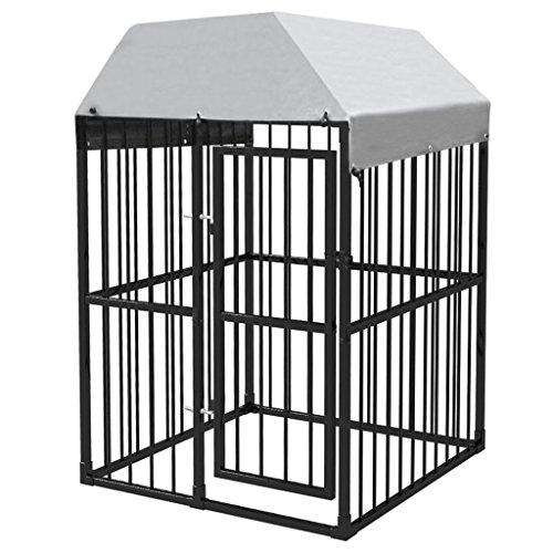 UnfadeMemory Outdoor Hundezwinger Hundegehege Laufstall Strapazierfähig Hunde Käfig Stahlkonstruktion mit Aufklappbarer Tür für Hunde Kleine Haustiere (Mit Überdachung, 120 x 120 cm)