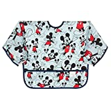 Bumkins Sleeved Bib Disney Baby Bib / Toddler Bib / Smock, Waterproof, Washable, Stain and Odor Resistant, 6-24 Months – Mickey Mouse Classic