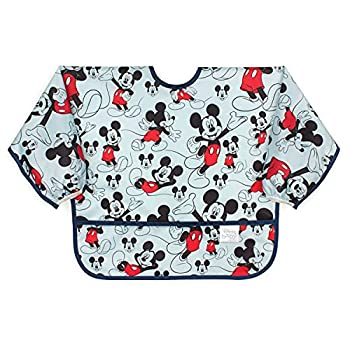 Bumkins Sleeved Bib Baby Bib Toddler Bib Smock Waterproof Fabric Fits Ages 6-24 Months – Disney Mickey Mouse Classic