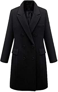 Women's Double-Breasted Woolen Overcoat Fashion Long Trench Coats