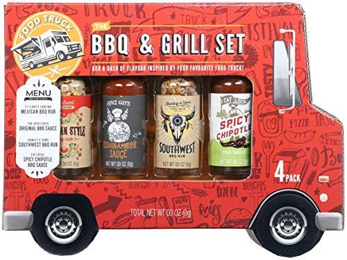 Modern Gourmet Foods BBQ & Grill-Set - mit 2x BBQ Sauce & 2x BBQ Rub Trockenmarinade - Food Truck Geschenkbox