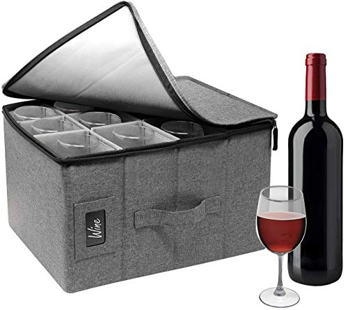 Sorbus Stemware Wine Glass Storage Hard Shell Box - Deluxe Padded Quilted Case with Dividers - Service for 12 - Great for Protecting or Transporting Wine Glasses Champagne Flutes Goblets Gray