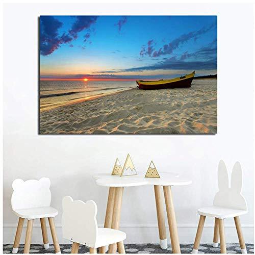 wzgsffs Gerahmte Holzboot Sandy Beach Sunset Seascape Wandkunst Poster und drucken Leinwand Malerei Bild Home Decor-50X70cm gerahmt