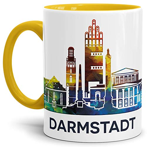 Tassendruck Darmstadt-Tasse Skyline - Kaffeetasse/Silhouette/Souvenir/Städte-Tasse/Mug/Cup/Becher/Beste Qualität - 25 Jahre Erfahrung - Innen & Henkel Gelb