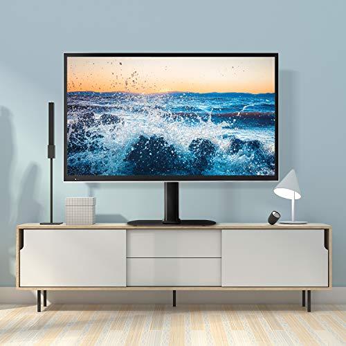 RFIVER Support TV sur Pied Socle TV Universel avec Support Pivotant pour Téléviseur LCD/LED/Plasma de 27 à 55 Pouces Base en Verre Trempé Charge 40kg Max VESA 400x400 mm