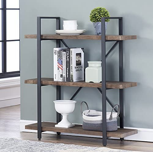 2021 O&K Furniture new arrival 3-Shelf Industrial Bookcase and Book Shelves, Free Standing Storage Display Shelves, high quality Brown outlet online sale