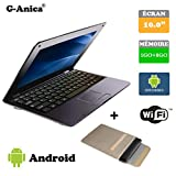 G-Anica Netbook Ordinateur Portable HDMI écr.10.1'- (WiFi, Ethernet, 1.5GHz 1Go+ 8GO) Tablette - Google Android 4.4.2 -Noir+ Sac d'ordinateur Portable