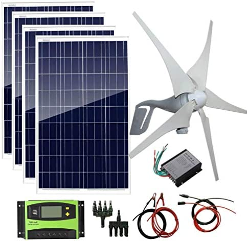 AUECOOR 800W 12V 24V Solar Panel Wind Turbine Kit 400W Wind Turbine Generator 4 pcs 100W Poly product image