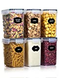Aitsite 1.6L Vorratsdosen Set, 6 Stück Müsli Schüttdose Frischhaltedosen, BPA frei Kunststoff Vorratsdosen luftdicht,Trockenfutterbehälter, 12 Etiketten für Getreide, Mehl, Zucker usw (Schwarz)