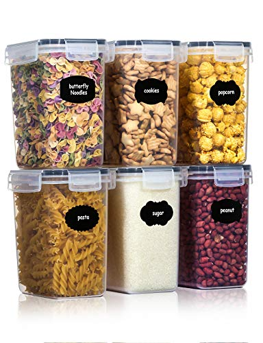 Aitsite 1.6L Tarro de Almacenamiento Plasico Recipientes para Cereales Jarras de Almacenamiento con Tapa Hermética Sin BPA Juego de 6 + 12 Etiquetas +Pluma Acuarela, para harina,café, etc