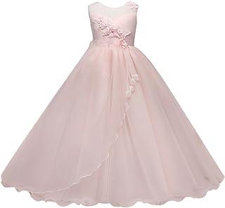 Zhhlaixing 子供ドレス Elegant Embroidery Flower プリンセス ドレス Party Wedding 発表会 結婚式 入園式 演奏会 花嫁介添人 女の子 Long Dress