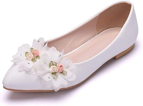 Qiusa Les Les Les dames Fleurs Souple Slip Satin Robe de soirée de Mariage Ballerines (Couleuré   blanc-Flat, Taille   7 UK)