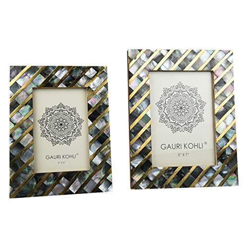 GAURI KOHLI zwart MOP en messing fotolijsten Gift Set | muur opknoping & tafelblad handgemaakt (Twin Pack)