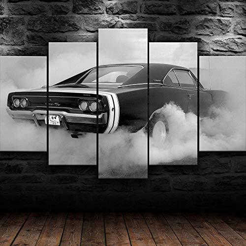 DBFHC 5 Pezzi Immagini E Stampe Artistiche su Tela Dodg Supercharger in Fumo Multicolore Legnostampe Modulari Immagini Decorazioni per La Casa Hd150X80Cm