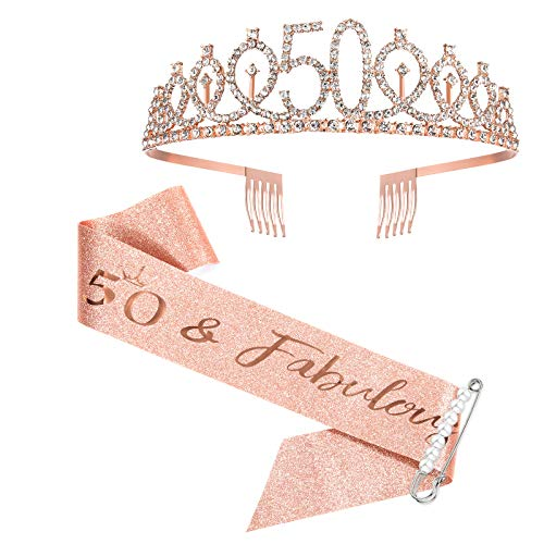 50th Birthday Sash and Tiara for Women, Rose Gold Birthday Sash Crown 50 & Fabulous Sash and Tiara for Women, 50th Birthday Gifts for Happy 50th Birthday Party Favor Supplies