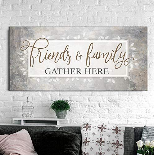 Sens de l'Art| Amis et famille se réunissent ici signe| Cadeaux de pendaison de crémaillère| Art mural décor de porte d'entrée | Décoration murale de la maison d'entrée | Grande toile murale (Beige, 42x19)