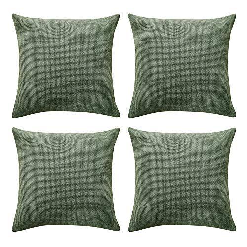 UMI. Essentials 4 Stück Set Chenille Kissenbezüge Kissenhülle Dekokissenhülle 40x40 cm Grün